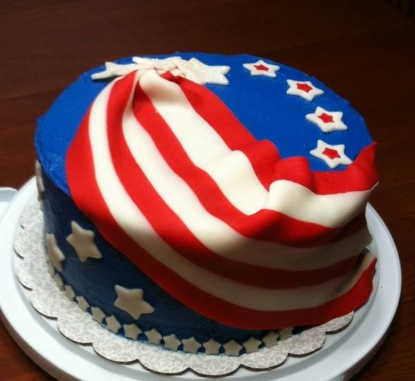 4th of July Hidden Flag Cake