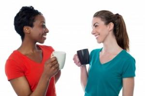 Casual conversation Women enjoying coffee