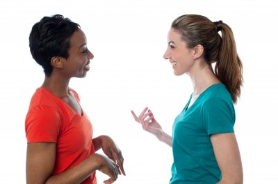 women having conversation