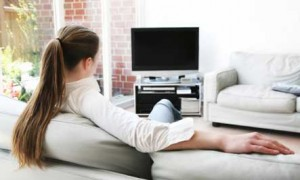Woman watchin TV